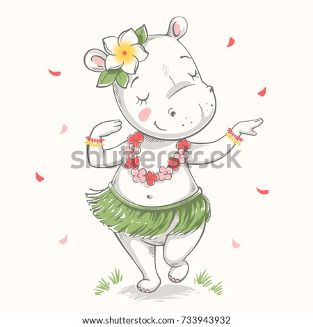 Cute baby hippo Hawaiian Hula dancer cartoon hand drawn vector illustration. Can be used for baby t-shirt print, fashion print design, kids wear, baby shower celebration greeting and invitation card.
