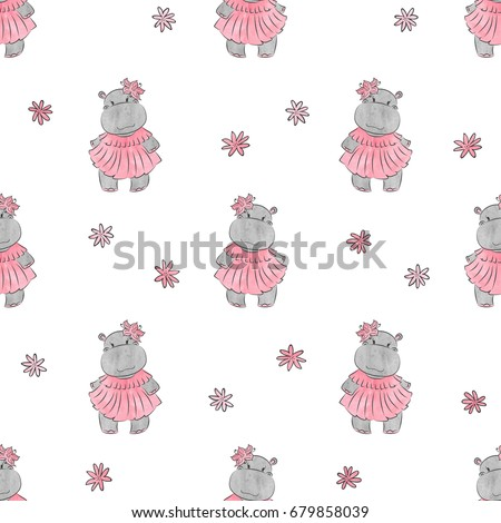 cute baby hippo pattern vector