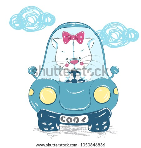 Stock Photo Cute baby kitten in the car, sitting on the moon cartoon hand drawn vector illustration. Can be used for baby t-shirts printing, fashion print design, baby clothes, baby shower, holiday greeting