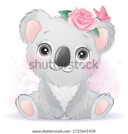 Cute baby koala with floral Stock foto ©