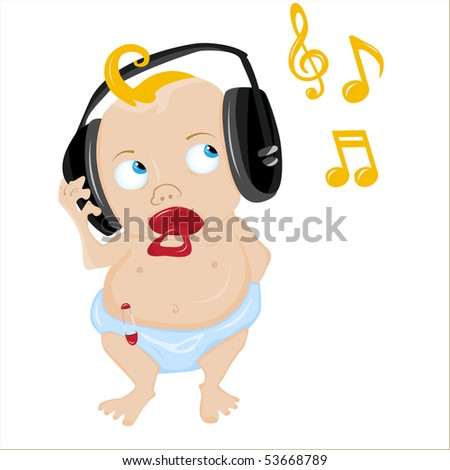 Cute Baby Listening to some music. Editable Vector Illustration