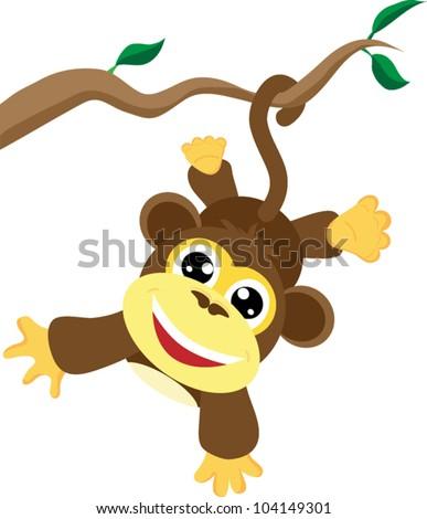 Cute baby monkey - stock vector