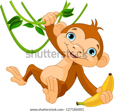 Cute baby monkey on a tree holding banana - stock vector