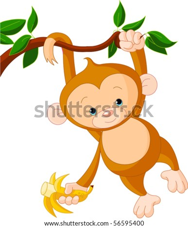 Cute baby monkey on a tree holding banana