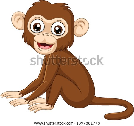 cute baby monkey sitting on