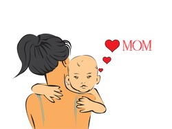 cute baby on shoulders of her momand  loving his mom a lot
