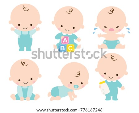 Cute baby or toddler boy vector illustration in various poses such as standing, sitting, crying, playing, crawling. - Shutterstock ID 776167246