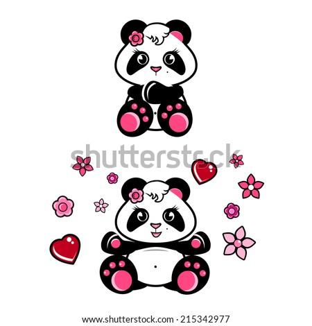 cute baby panda girl with