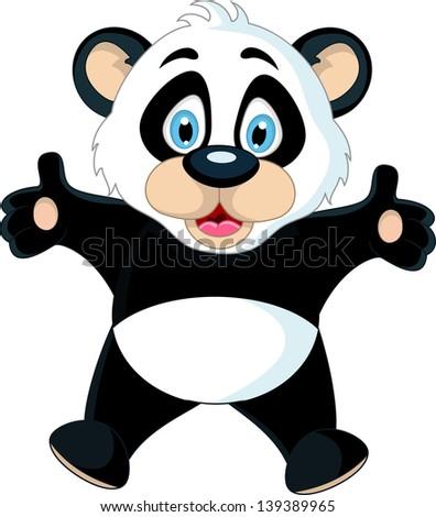 Cute Baby Panda Rising His Hand Ez Canvas