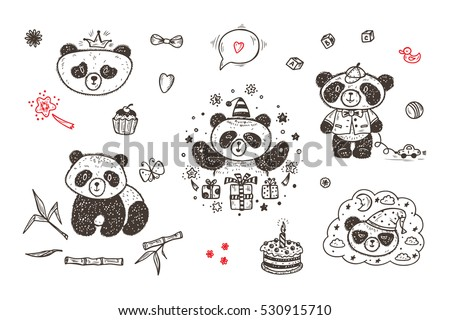 cute baby panda vector set