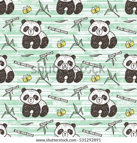Cute Baby Panda with bamboo Vector Seamless pattern. Endless wallpaper with Pandas. Hand Drawn Doodle Funny Black and White Bear. Background for kids.