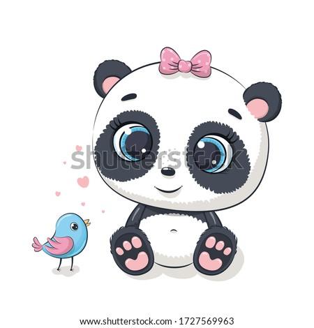 cute baby panda with bird