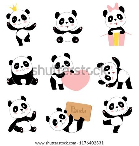 Cute baby pandas. Toy animals chinese symbols panda bear adorable funny baby mascot vector characters collection in cartoon style. Illustration of panda bear, animal chinese nature