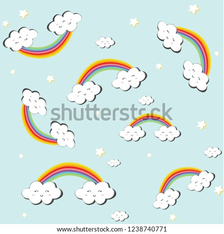 Cute baby pattern with cloud stars and raınbow