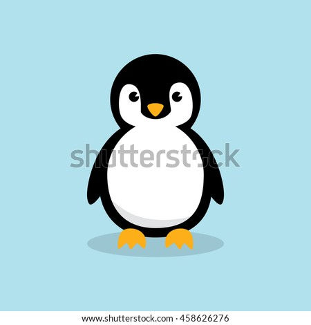 cute baby penguin standing on