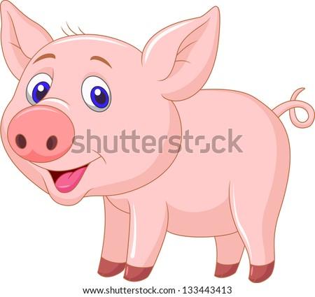 Cute baby pig cartoon #133443413