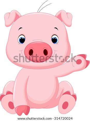 Cute baby pig cartoon #314720024