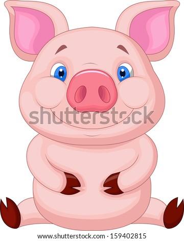 Cute baby pig sitting #159402815