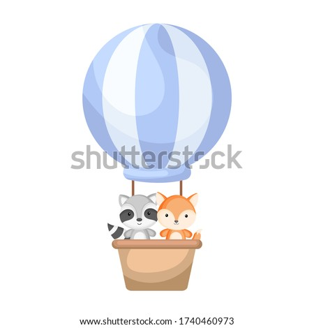Cute baby raccoon and fox in the hot air balloon. Graphic element for childrens book, album, scrapbook, postcard, invitation, mobile game. Flat vector stock illustration isolated on white background.