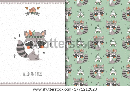 Cute baby raccoon. Cartoon Tribal   forest animal character. Kids card print template and seamless background pattern. Hand drawn surface design vector illustration.