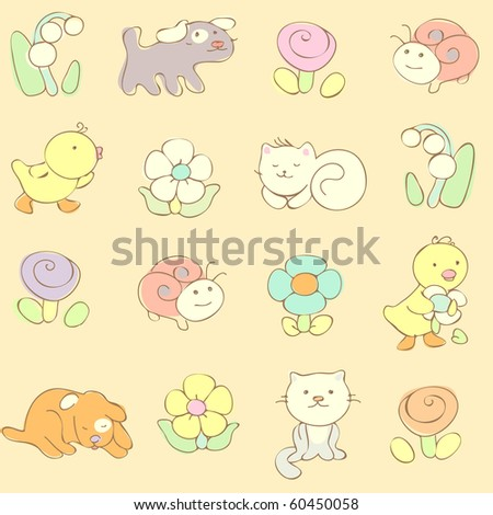 cute baby seamless pattern. vector  illustration