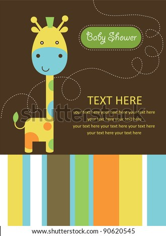 cute baby shower card with cute giraffe. vector illustration - stock vector