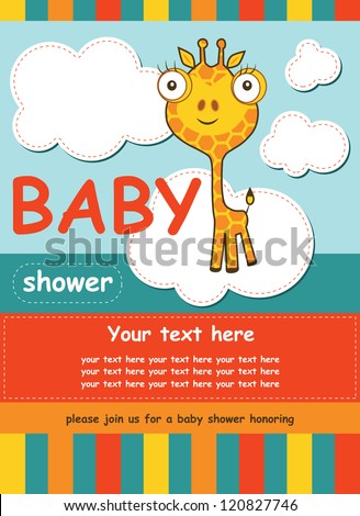 cute baby shower card with giraffe. vector illustration