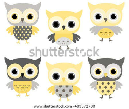 Cute Baby Shower Owls In Grey And Yellow