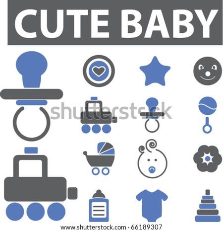 cute baby signs. vector