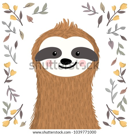 Cute baby sloth among flowers and leaves. Adorable animal illustration in the summer, spring style. Vector funny sloth for greeting card, invites, poster, phone and book cover, background