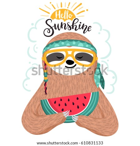 Cute baby sloth eating watermelon. Hipster animal wearing glasses and bandana. Funny hippie sloth holding watermelon slice. Summer card, poster, banner, background, t-shirt print design. Vector art