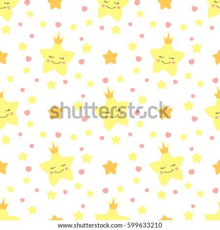 cute baby star pattern vector