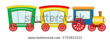 cute baby train, steam locomotive, with pipe and multicolored cars. Picture in hand drawing cartoon style, for t-shirt wear fashion print design, greeting card, postcard. baby shower. party invitation ストックフォト ©