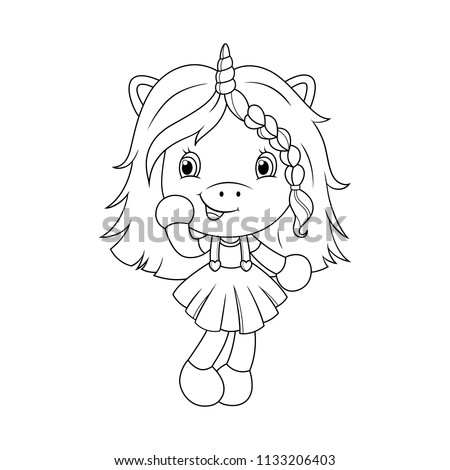 Cute baby unicorn coloring page for girls. Vector illustration isolated on white background.