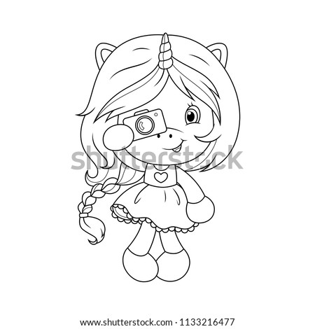 Cute baby unicorn with camera coloring page for girls. Vector.