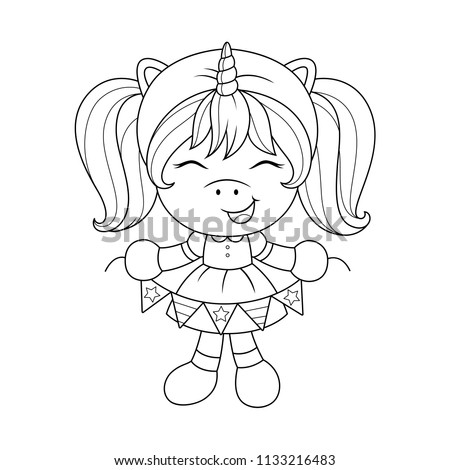 Cute baby unicorn with paper garland, coloring page for girls. Vector.