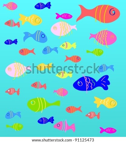 Cute background with fish, vector