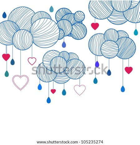 Cute background with hand drawing clouds, vector illustration