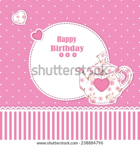 Cute background with teapot for baby shower, birthday, tea party