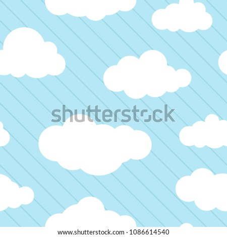 Cute background with white clouds on powder blue background  with blue lines. Overcast striped pattern. Vector illustration. Cartoon weather wallpaper. Funny childish backdrop for cards.