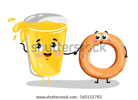 cute bagel and lemonade glass