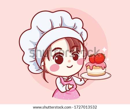 cute bakery chef girl holding a
