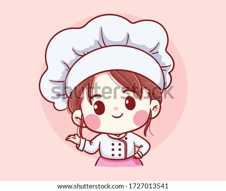 cute bakery chef girl welcome
