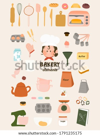 Cute bakery elements flat vector graphic illustration. Baking art print. Baking ingredients and tools, dessert and pastry dishes with chef kawaii logo, symbols, icon. Set Baking and Kitchen items