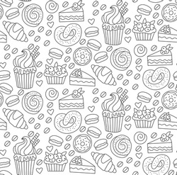 Cute bakery sweets doodles black and white seamless vector pattern