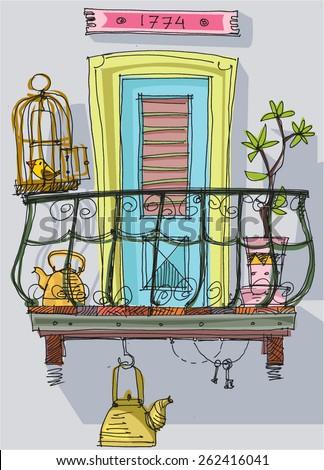 Royalty free cute balcony cartoon 264014507 stock photo for Balcony vector