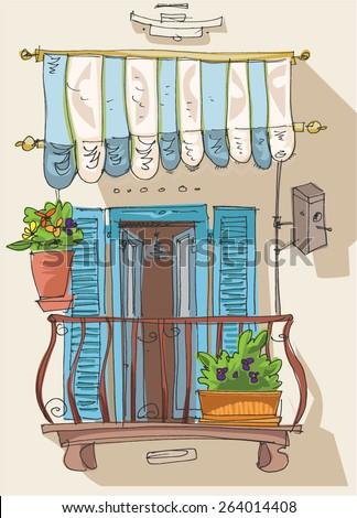 Royalty free cute balcony cartoon 264014507 stock photo for Balcony cartoon