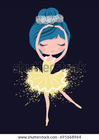 Cute ballerina girl/T-shirt print/Book illustrations for children/Romantic hand drawing poster/Girl princess/Can be used for baby,fashion print,baby shower celebration greeting and invitation card