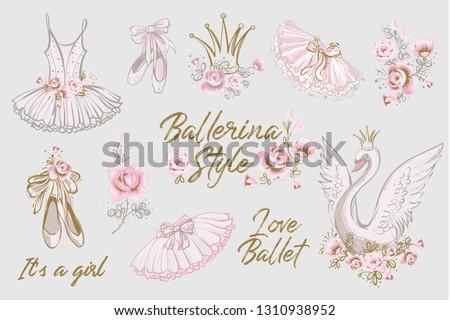 Cute ballet vector watercolor set. Hand drawn balerina dress, tutu skirt, shoes, swan, flowers, slogan, lettering sketch. Gold and pink vintage illustration white background. Baby girl fashion design