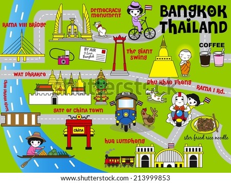 Cute Bangkok Thailand Guide Map illustration set